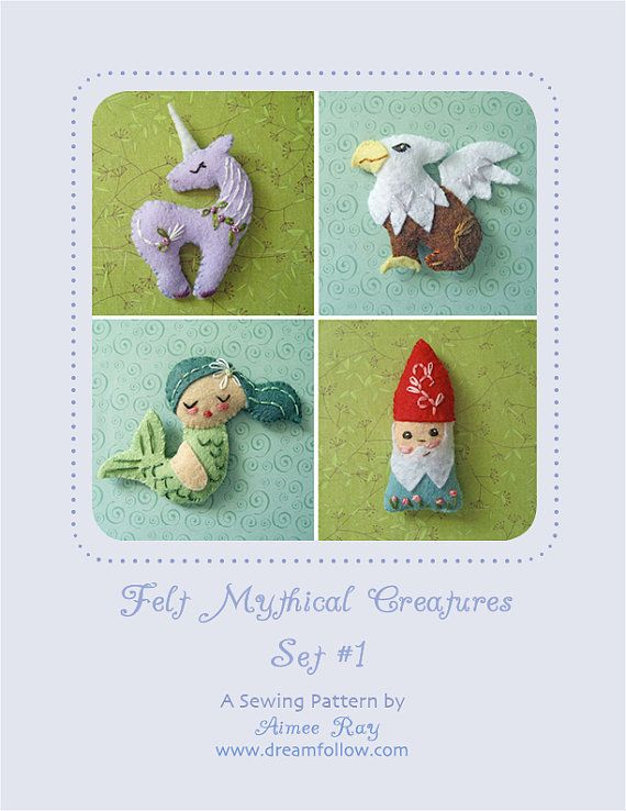 Mini Felt Mythical Creatures Set 1 plush PDF sewing pattern | Felt ...