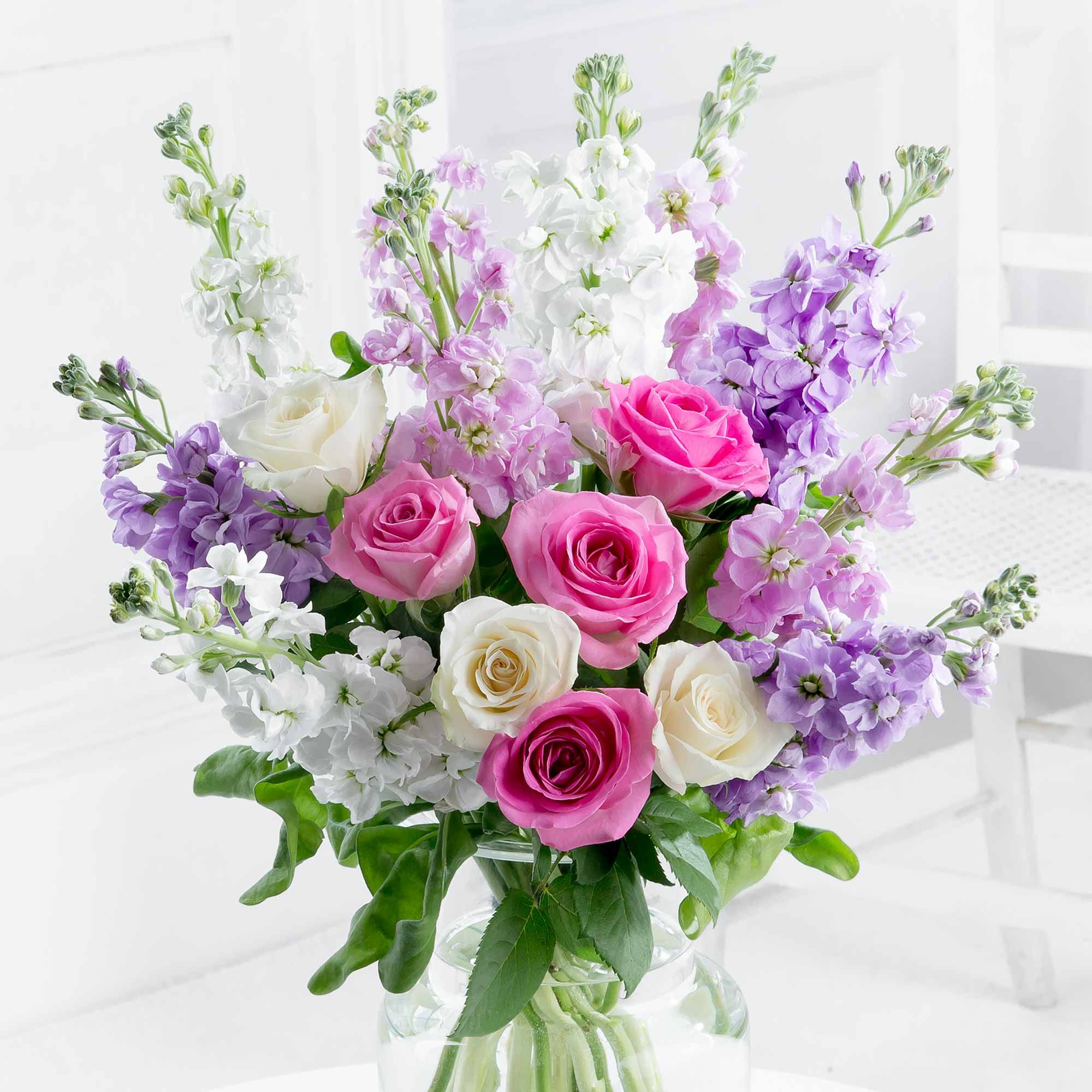 This Elegant Bouquet Combines Soft Stocks With Gorgeous Roses For