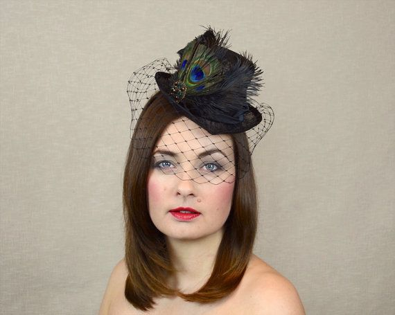 17563f3742043 Black Mini Top Hat with Birdcage Veil and Feathers by RUBINA Millinery  top   hat  rubinamillinery  fascinator  steampunk  riding