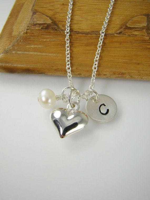 Girl Heart Necklace – Personalized Girl Birthday Gift Idea – Sterling Silver Heart Charm