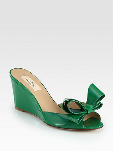 Valentino - Couture Patent Leather Bow Wedge Sandals - Saks.com