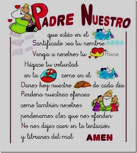 Pin De Any Del Valle En Catequesis Para Niños Oraciones Para Niños Padrenuestro Oraciones