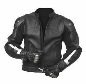 Silver And Black Sport Bike Leather Apparel Puma Dainese Leather