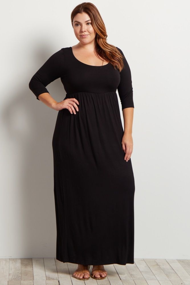 d2c5baecd6 Charcoal Grey 3 4 Sleeve Plus Maxi Dress in 2019