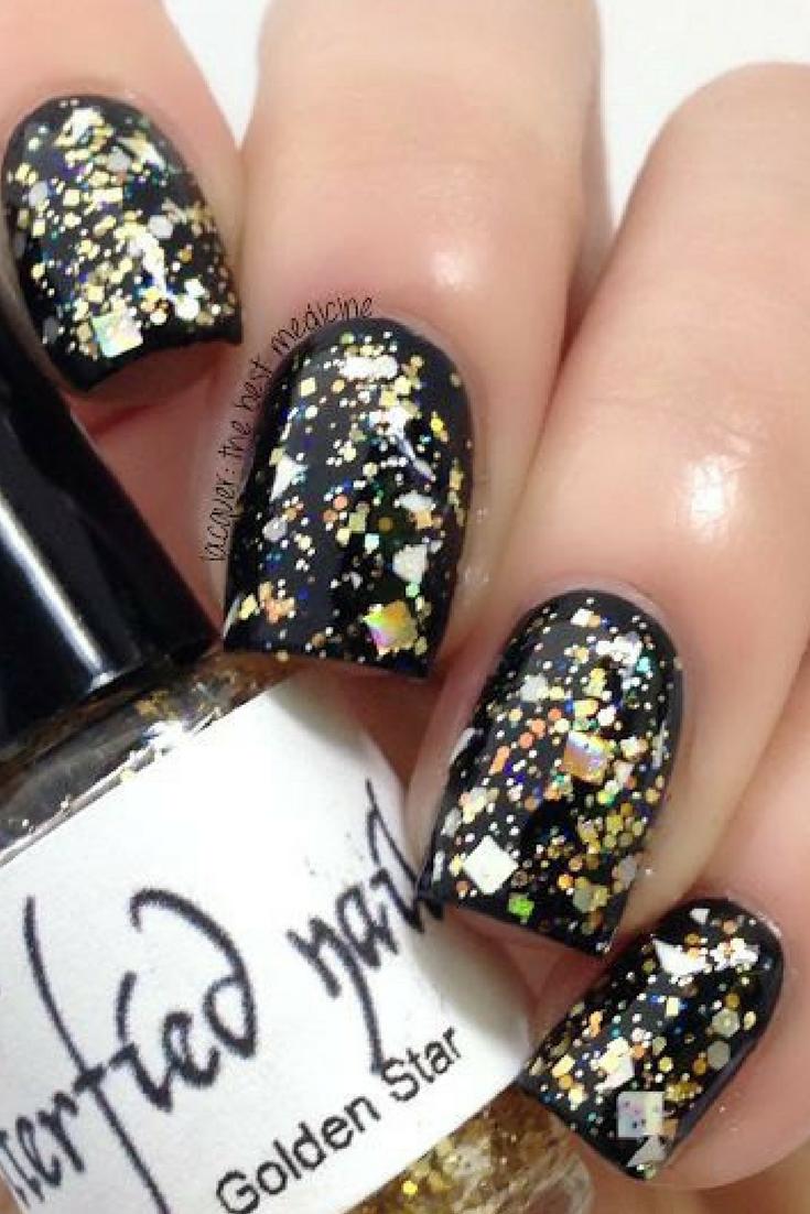 $9.75 - Golden Star Gold Glitter Holographic Iridescent Glitter Nail ...