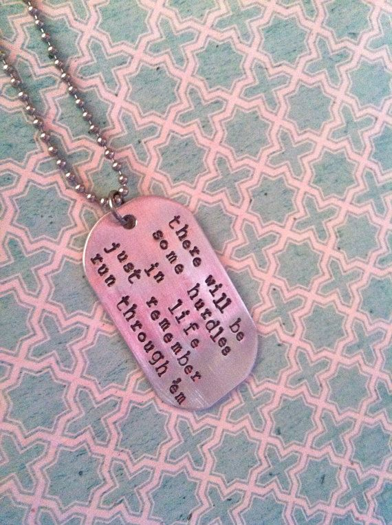 New Personal Message Single Dog Tag Hand Stamped Necklace Men Or Women Hand Stamped Necklace Fathers Day Inspirational Quotes Hand Stamped