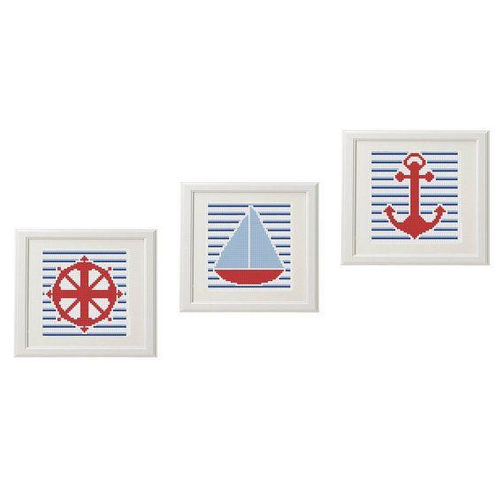Volante modelo moderno punto de cruz Barco ancla náutica | Cotuna ...