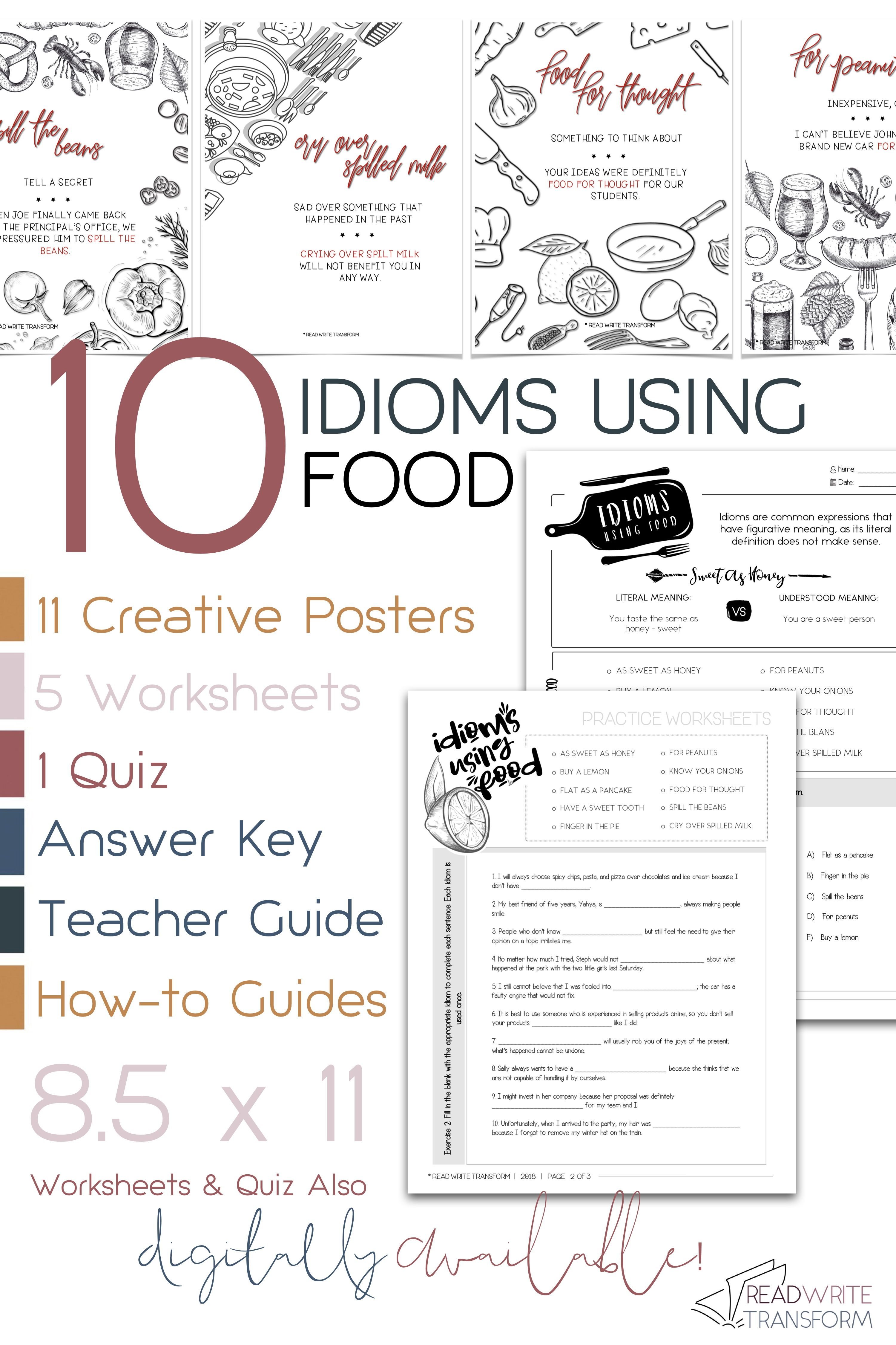 10 Idioms Using Food Posters Worksheets Quiz Digital And