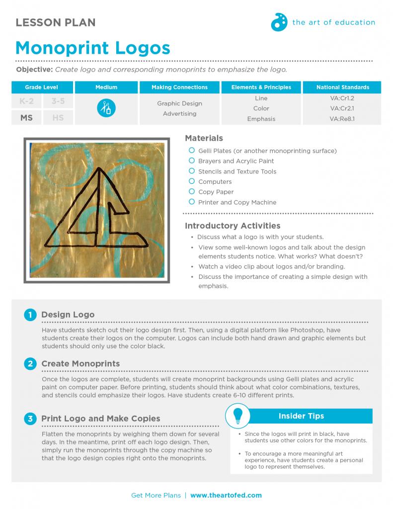 Monoprint Logos: Free Lesson Plan Download in 2019 | AOE