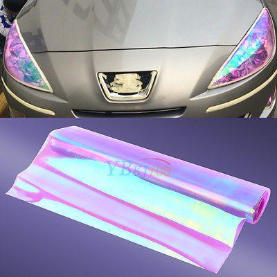 "*12/""x24/"" Glossy Neon Yellow Tint Headlights Fog Lights Sidemarker Vinyl Sticker"