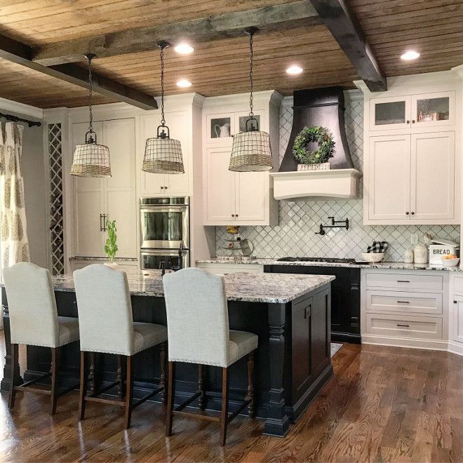 amusing black farmhouse kitchen | Farmhouse kitchen with white cabinets, black island and ...
