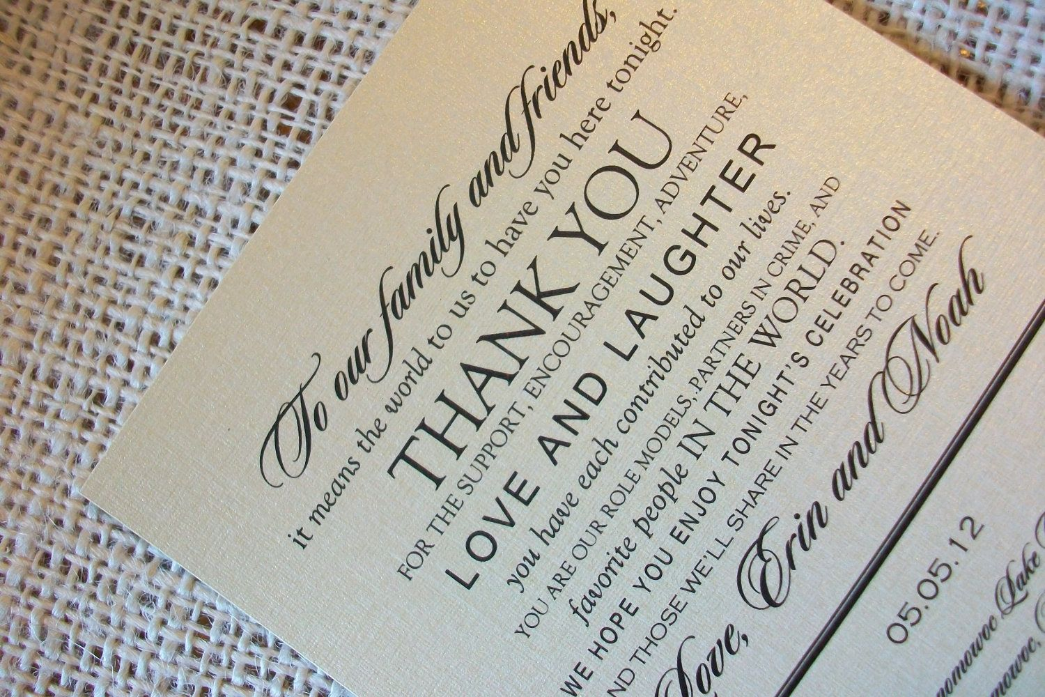 Wedding Menu Card - Thank You Design - your choice of colors ...