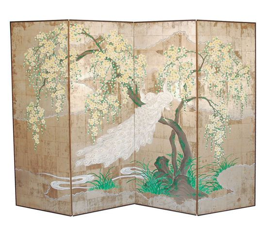 Asian Screen Dividers Golden Color Plants Motif Metal Panel Screen