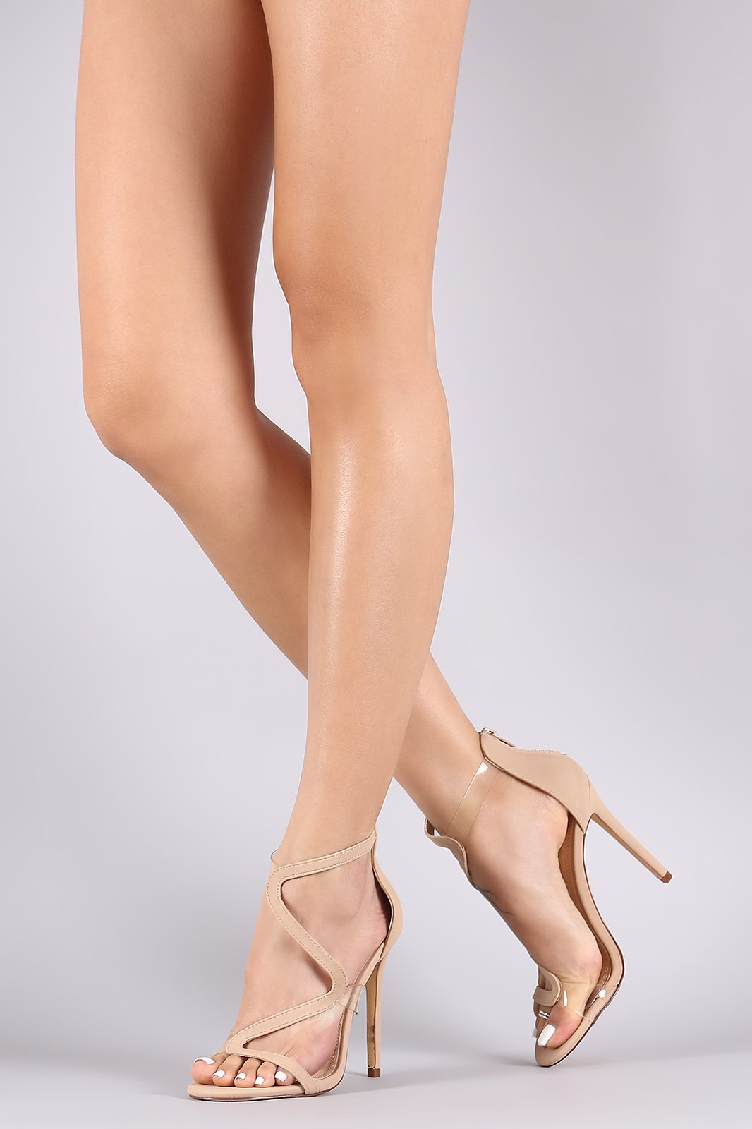 Liliana Asymmetrical Clear Strap Stiletto Heel Сумки