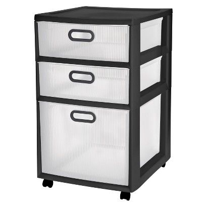 Sterilite® Ultra™ 3 Drawer Storage Cart   Black : Target