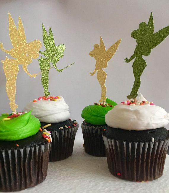 Set Of 12 Tinkerbell Glitter Cupcake Topper Birthday Party Tinker Bell Silhouette Toppers Picks