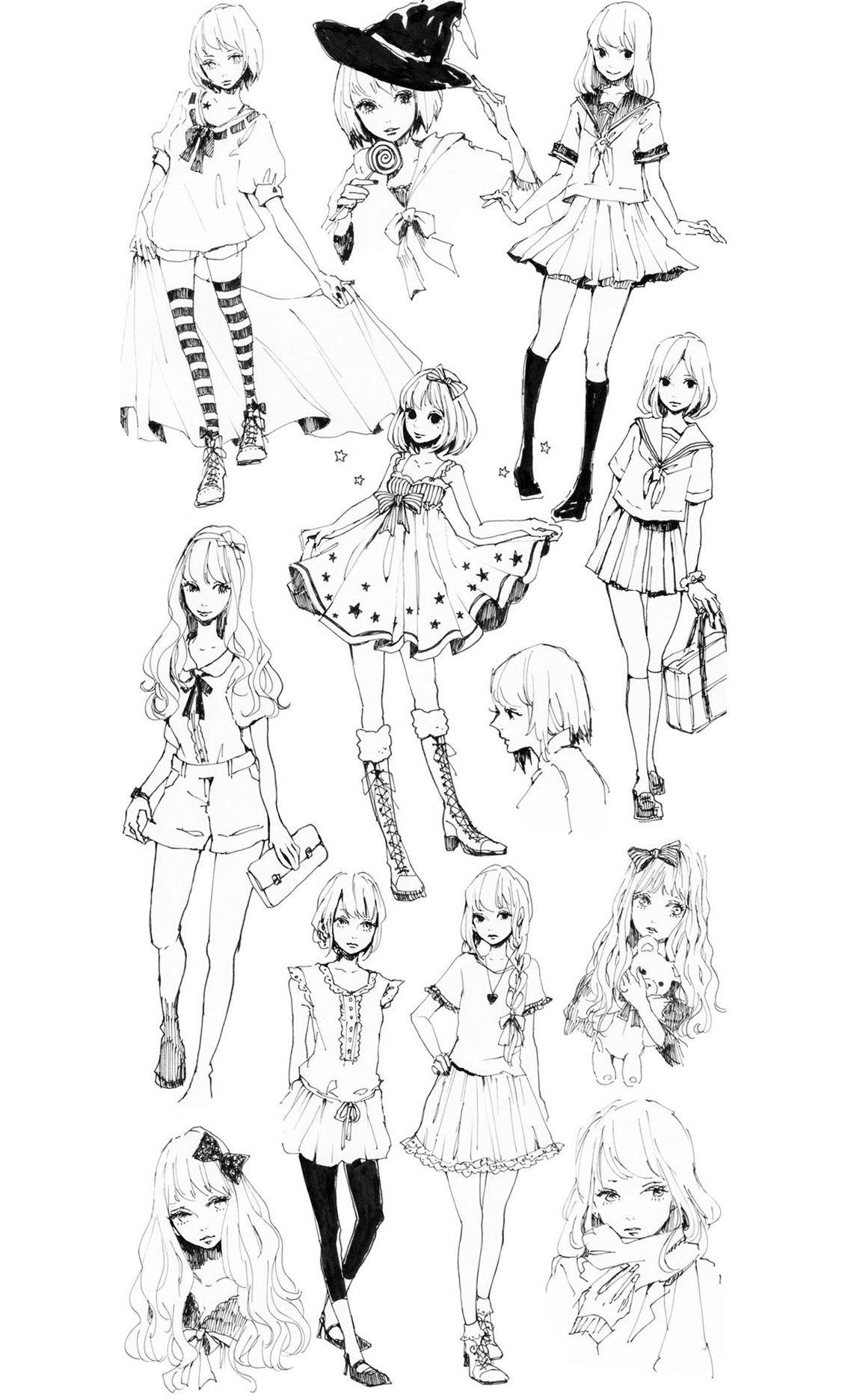 Dessin Style Manga De Personnages Féminins Aux Styles Vestimentaires