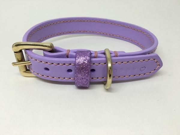Full Stitched Lilac Leather Dog Collar Leather Dog Collars