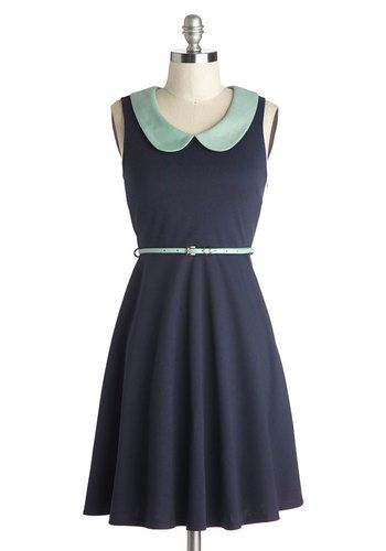 Work to Play Dress in Navy - Knit, Mid-length, Blue, Mint, Peter Pan Collar, Belted, Casual, A-line, Sleeveless, Better, Collared, Solid, Wo...
