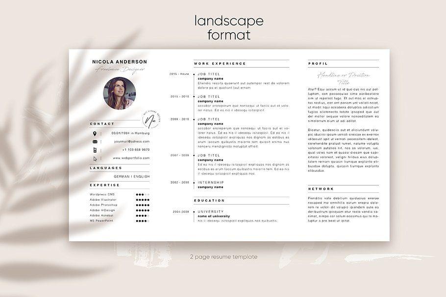 Portfolio Resume Template Landscape Graphic Design Resume Resume Template Indesign Resume Template
