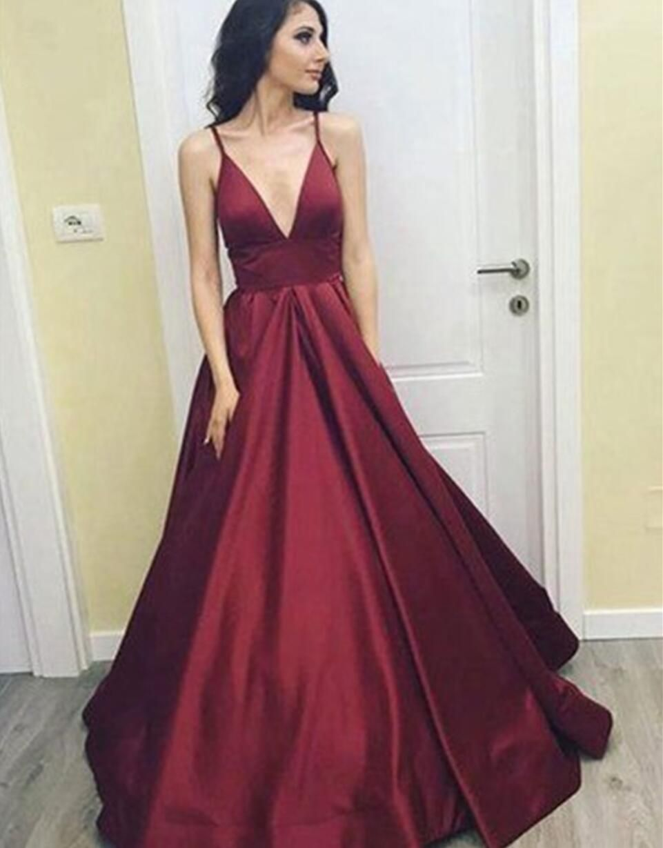 f0a636a9531 Simple Cheap Sexy Deep V Neckline A line Long Evening Prom Dresses ...