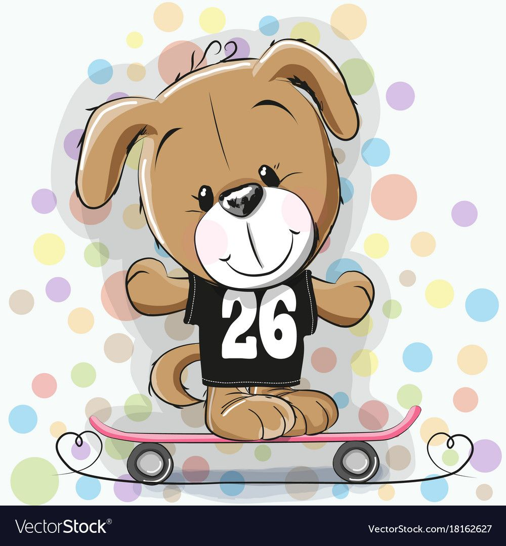Cute Cartoon Puppy With Skateboard Vector Image On