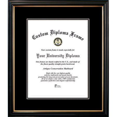 10x14 Petite Black Gold Trim, Double Black Mats-Certificate Frame ...