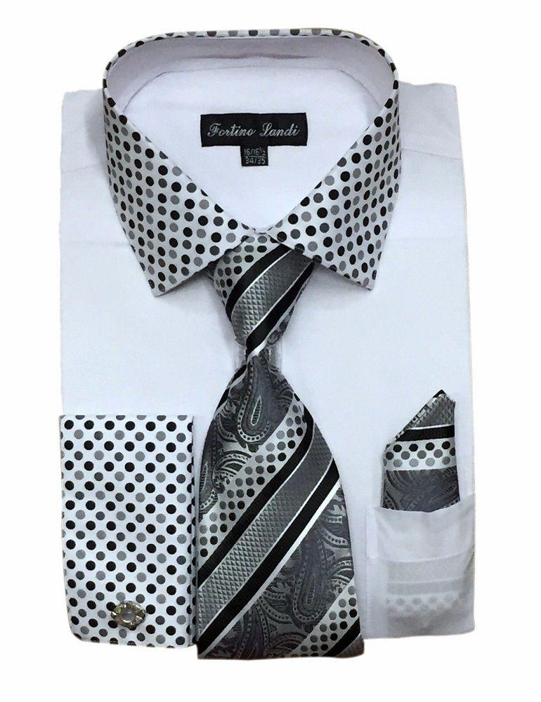 c95e5dfb4d5 Fortino Milano Mens White French Cuff Dress Shirt Tie Set FL630 ...