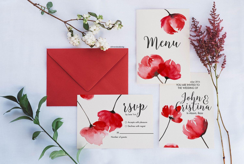 Watercolor floral invitation: Pantone Fiesta   Unique wedding ...