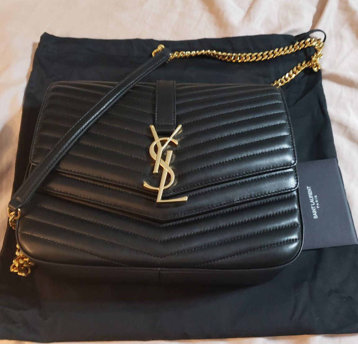 f00aec0118e YSL SAINT LAURENT SULPICE COLLEGE SHOULDER BAG MATELASSE LEATHER BLK ...