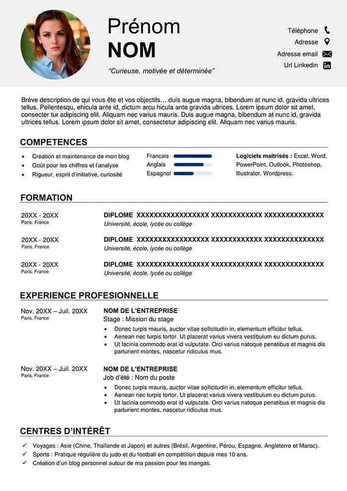 Cv 14 Cv Noir Et Blanc Original Maxi Cv Cv Words Free Resume Resume Cv