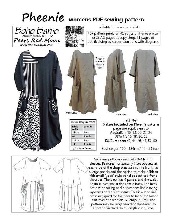 Pheenie Dress, PDF sewing pattern   tunika   Pinterest   Nähen, Rock ...