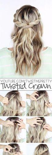 DIY Hochzeitsfrisur  Twisted Crown Braid Half Down Bottom Frisur