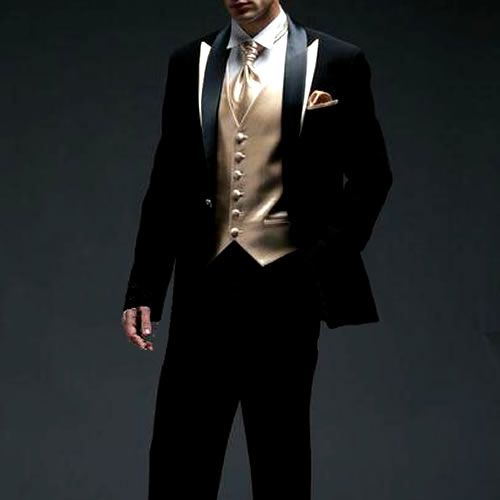 black and gold prom tux