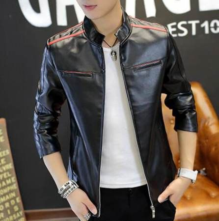622c3dfdf320f Black and white color block bomber jacket for men plus size pu coat ...