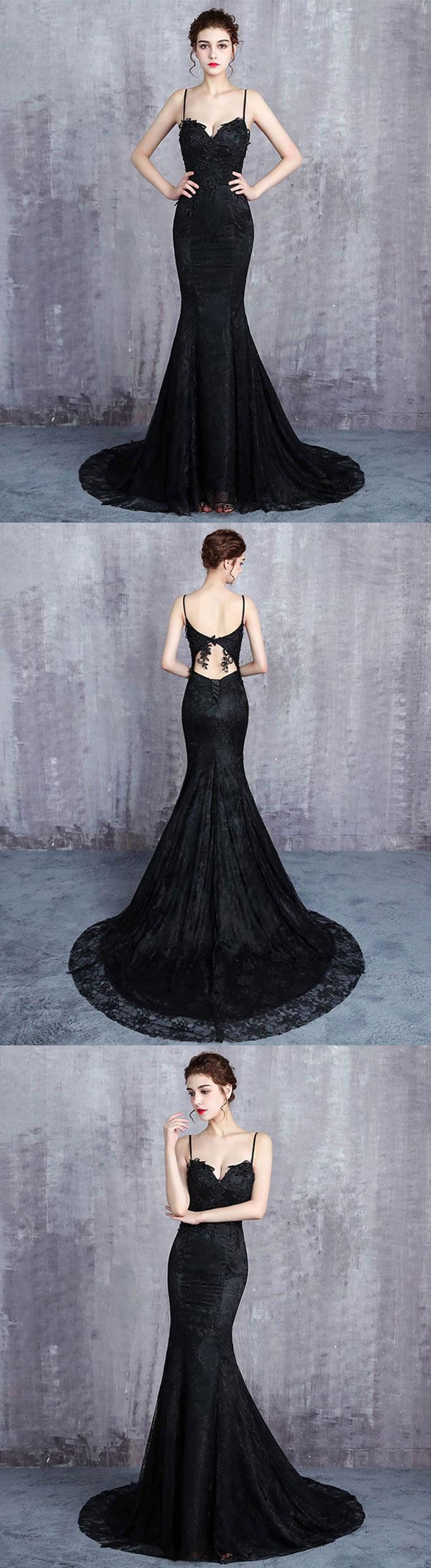 Black lace long prom dress mermaid evening dress wedding gothic