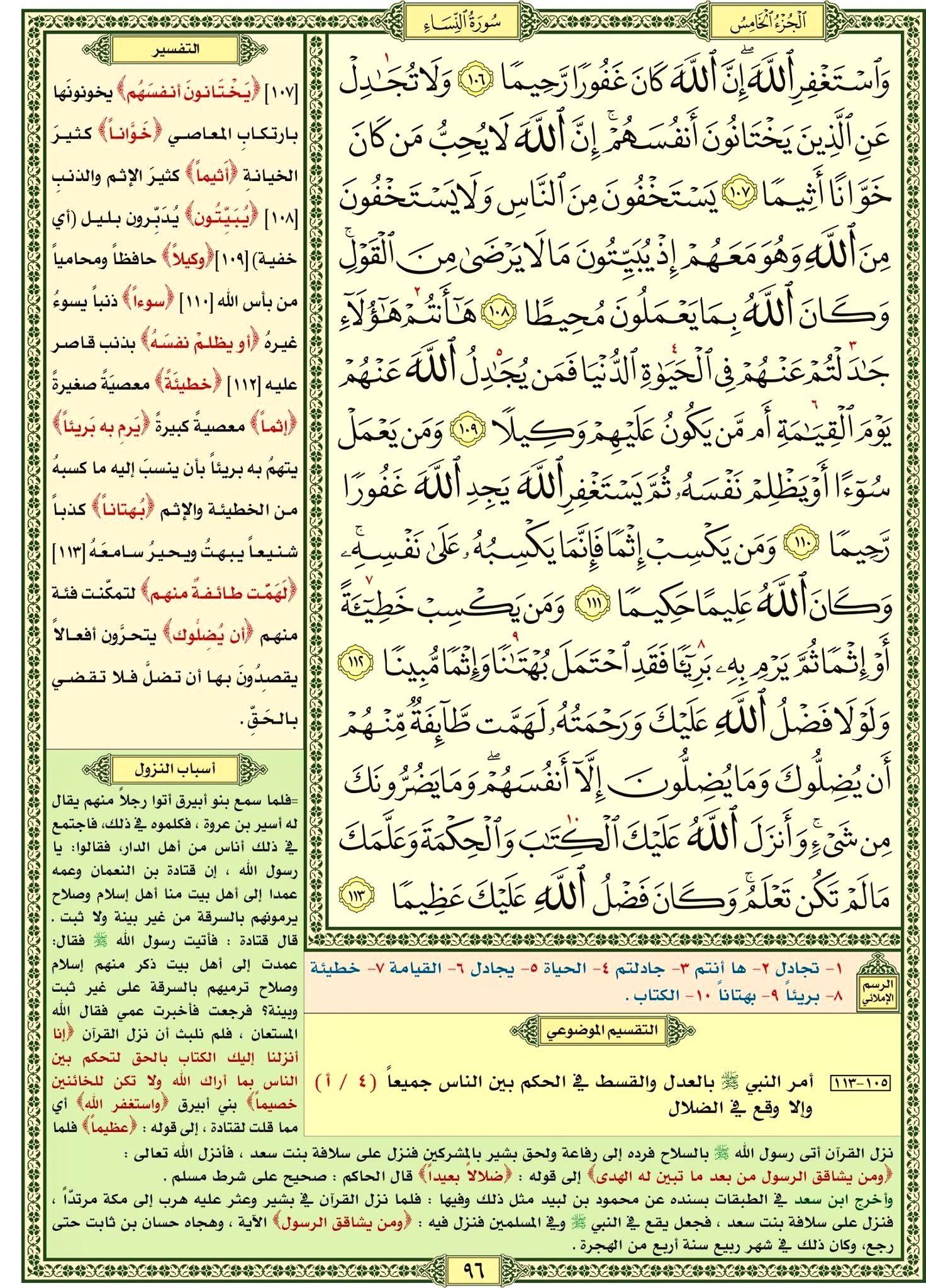 سورة النساء صفحة رقم ٩٦ مصحف التقسيم الموضوعي للحافظ المتقن Quran Verses Verses Bullet Journal