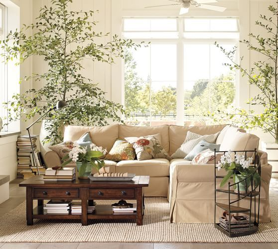 Pottery Barn Living Room With Carpet And Decorative Plant: Chunky Wool/Jute Rug - Natural
