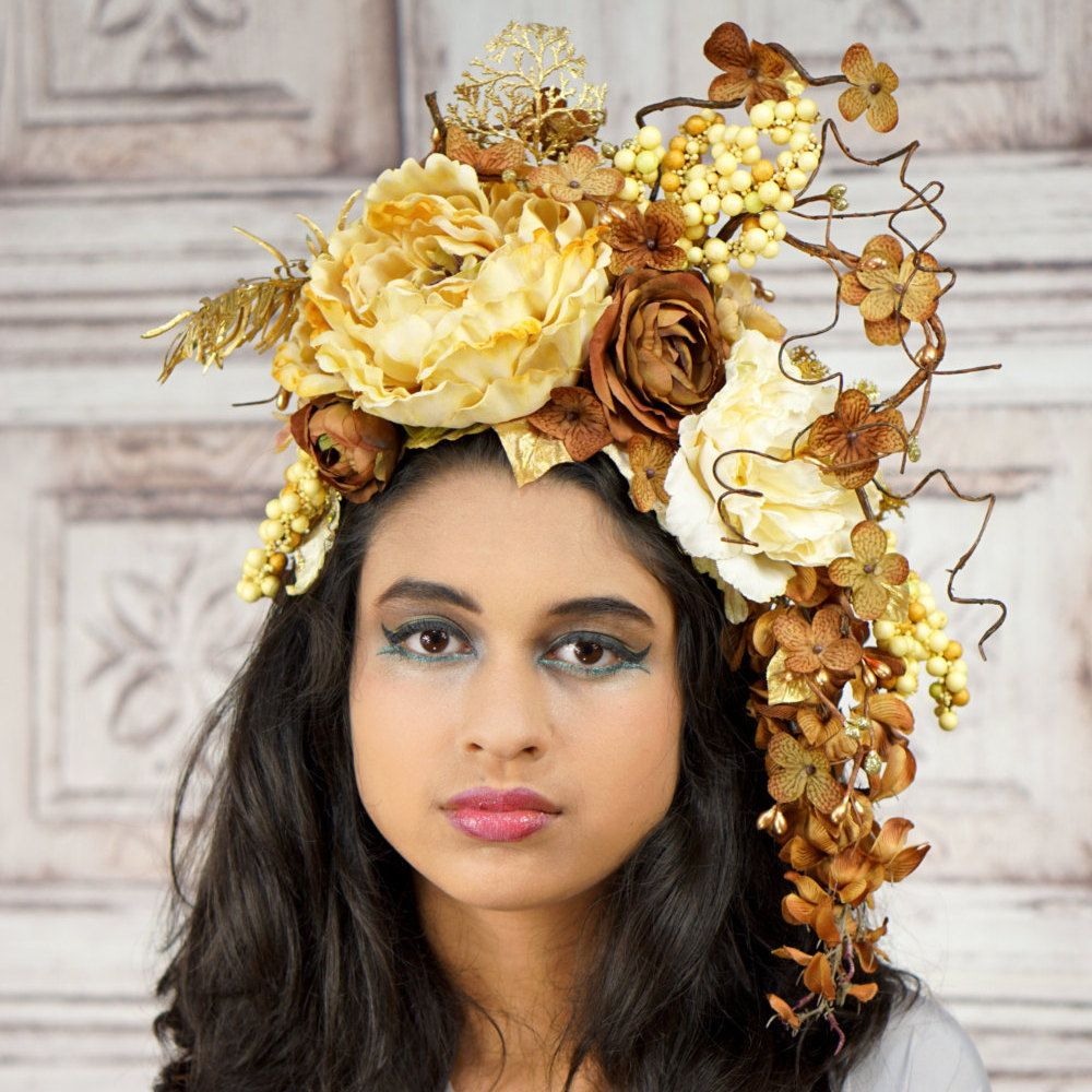 Woodland Goddess Headpiece Brown Ivory And Gold Floral Headdress