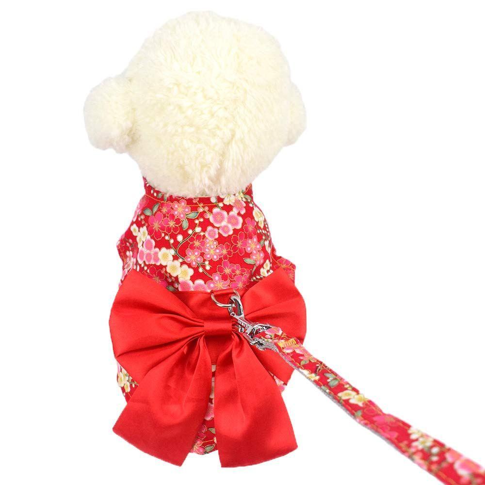 Cuteboom Dog Sakura Dress Pet Japenese Kimono Clothes Small Dog