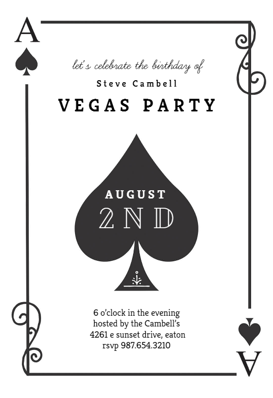 Ace Of Spades Sports Games Invitation Template Free Greetings Island Party Invite Template Playing Card Invitation Poker Party Invitation