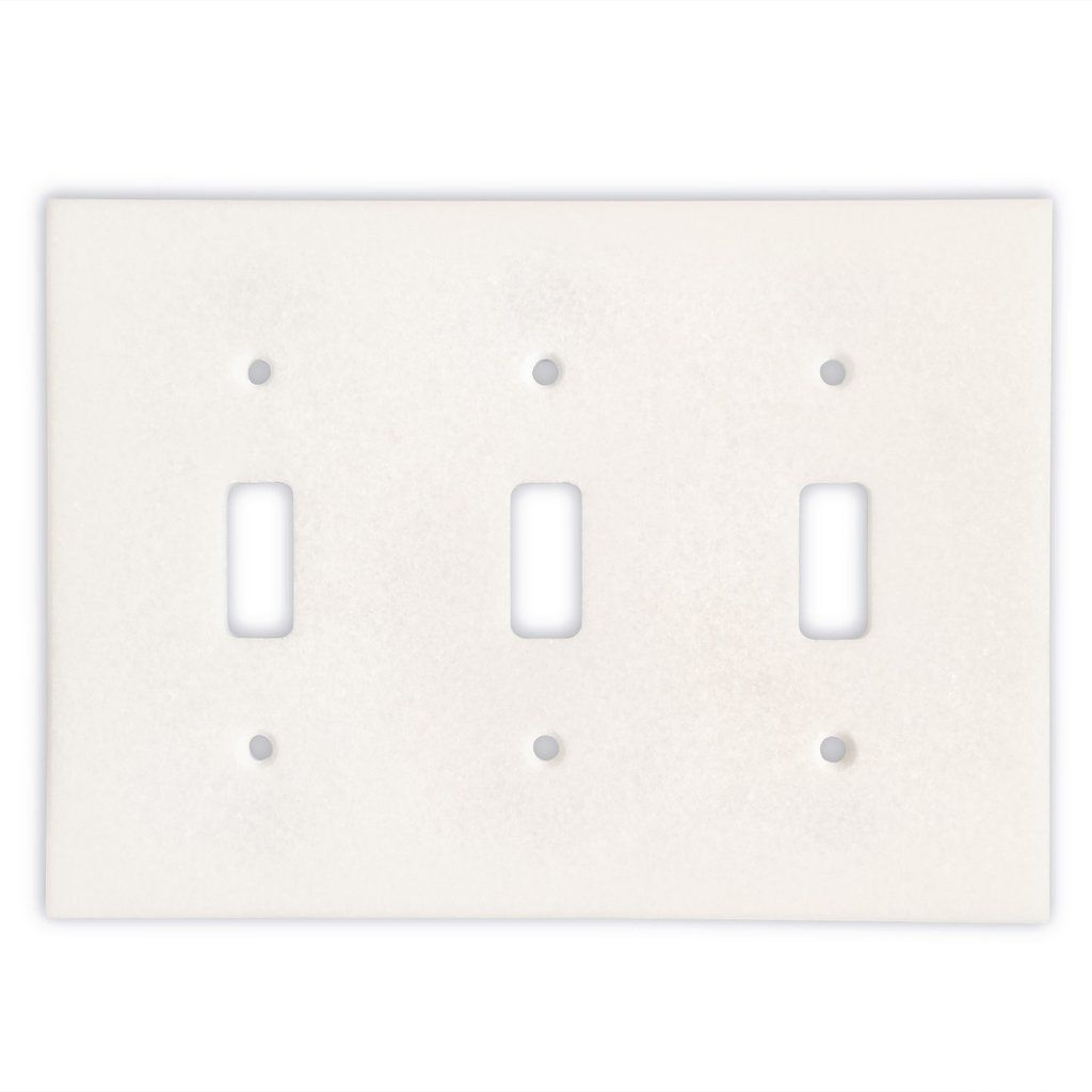 Thassos White Marble Triple Toggle Switch Wall Plate