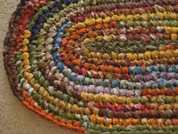 Oval Crochet Rag Rug Multicolored Scry By Peppersattic On Etsy 85 00