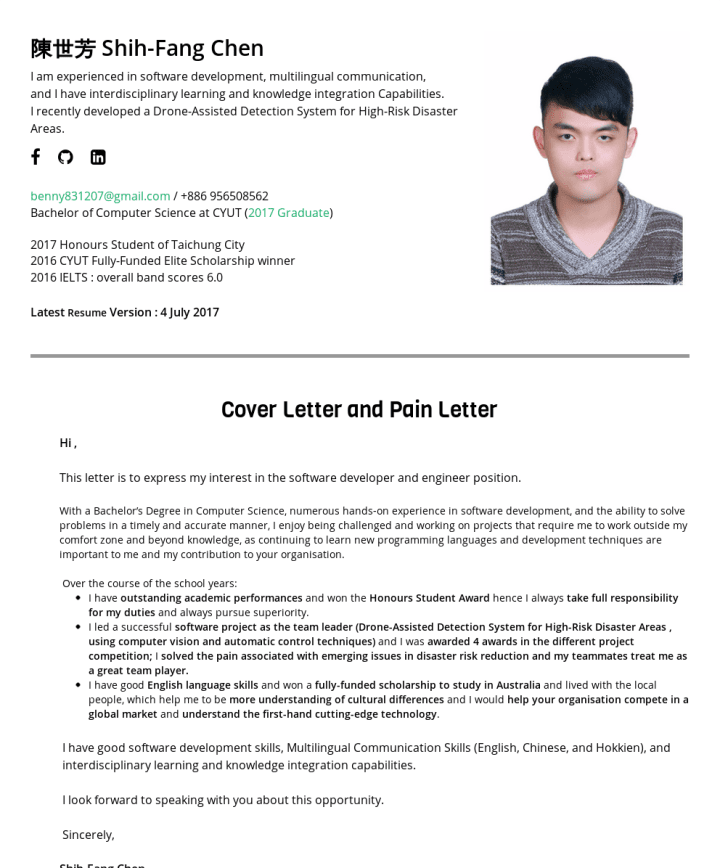Sw Engineer In Ai Computer Vision Robotics Fields Resume Examples Shih Fang Chen Leaner In The Field Postgraduate Students Deep Learning Computer Science