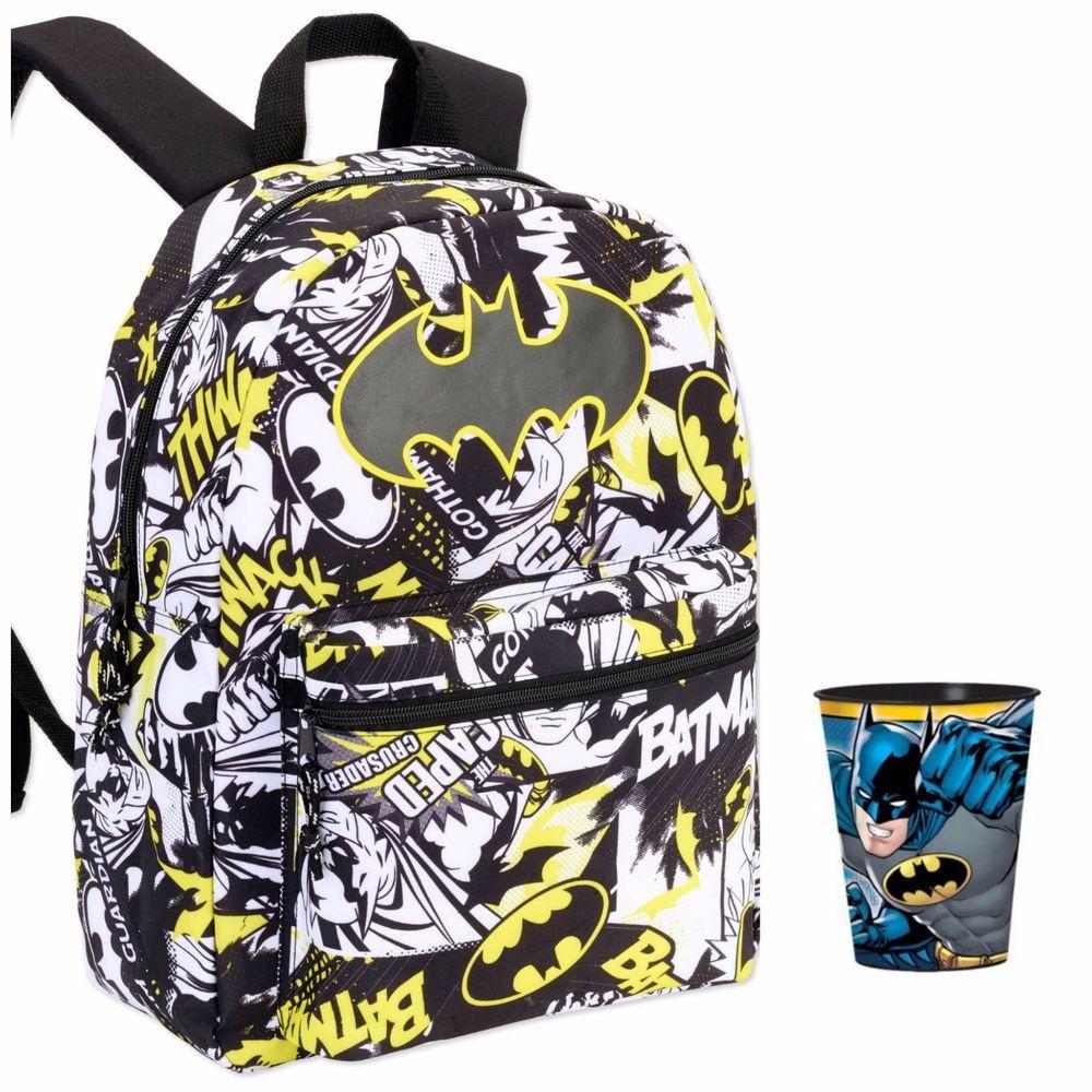a8a1e34d4cbe Batman Backpack School Bag DC COMICS + Batman Tumbler Cup Set NEW 16