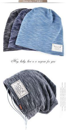 a0ba87e0d17 Mens Fashion · Autumn Hip hop cap Winter beanies men hats Rock logo Casual  Cap Turban hat bonnet plus