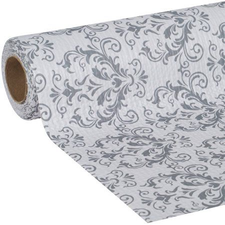 Duck Smooth Top Easy Liner 20 In X 6 Ft Shelf Liner Grey Damask