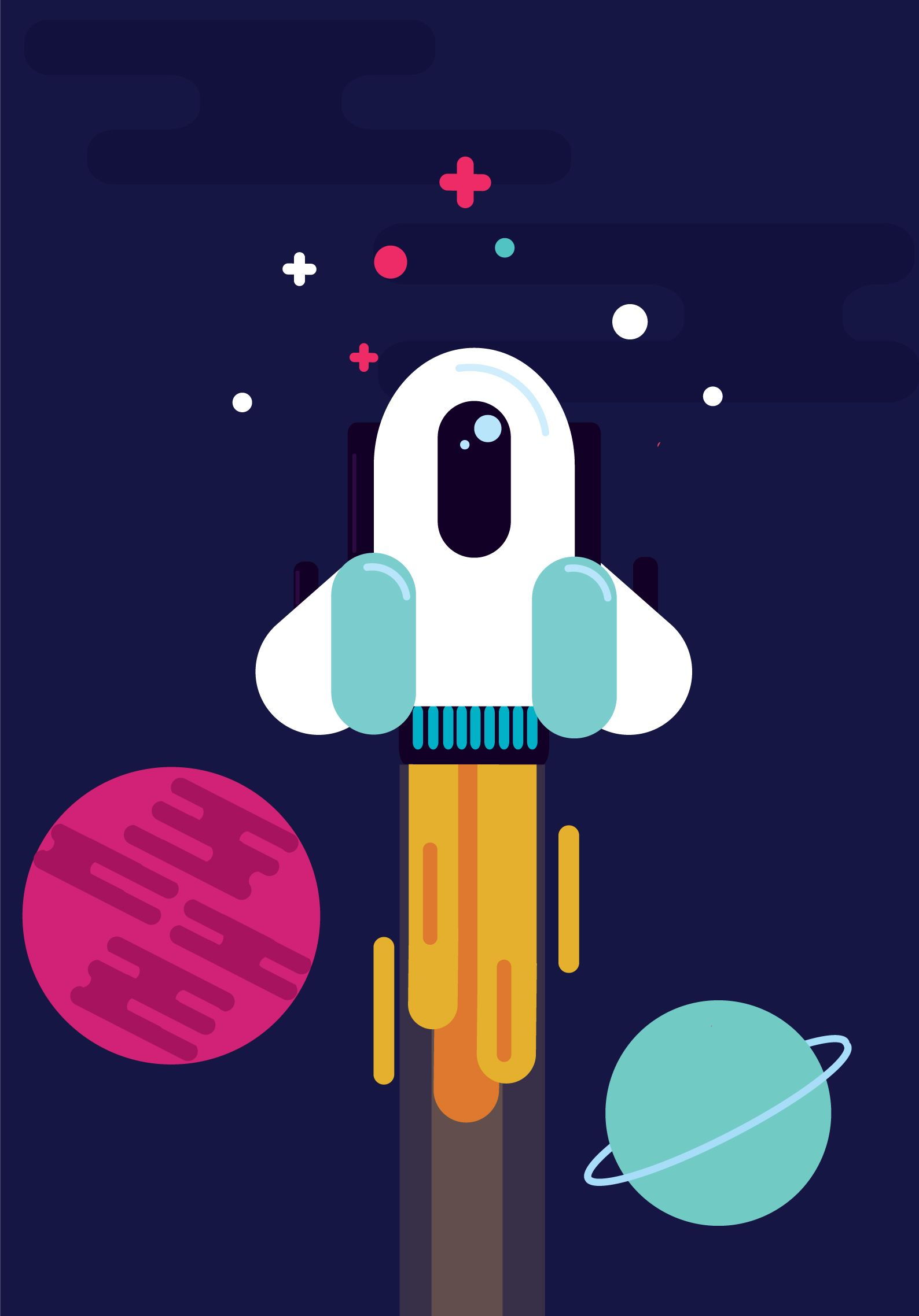 Galaxy with planets, rocket and a lonely astronaut all done