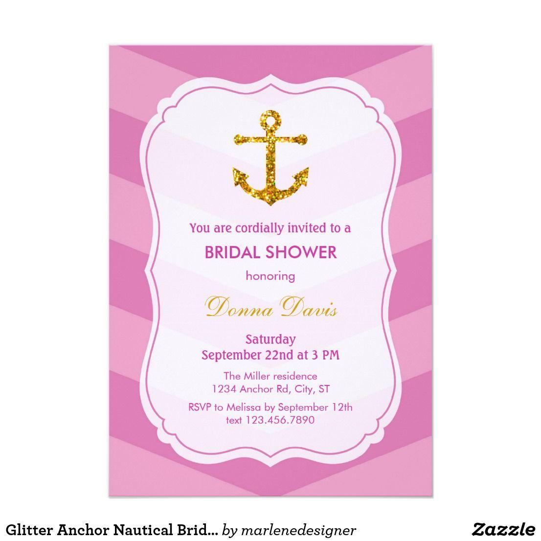 Glitter Anchor Nautical Bridal Shower Invitation This invitation ...