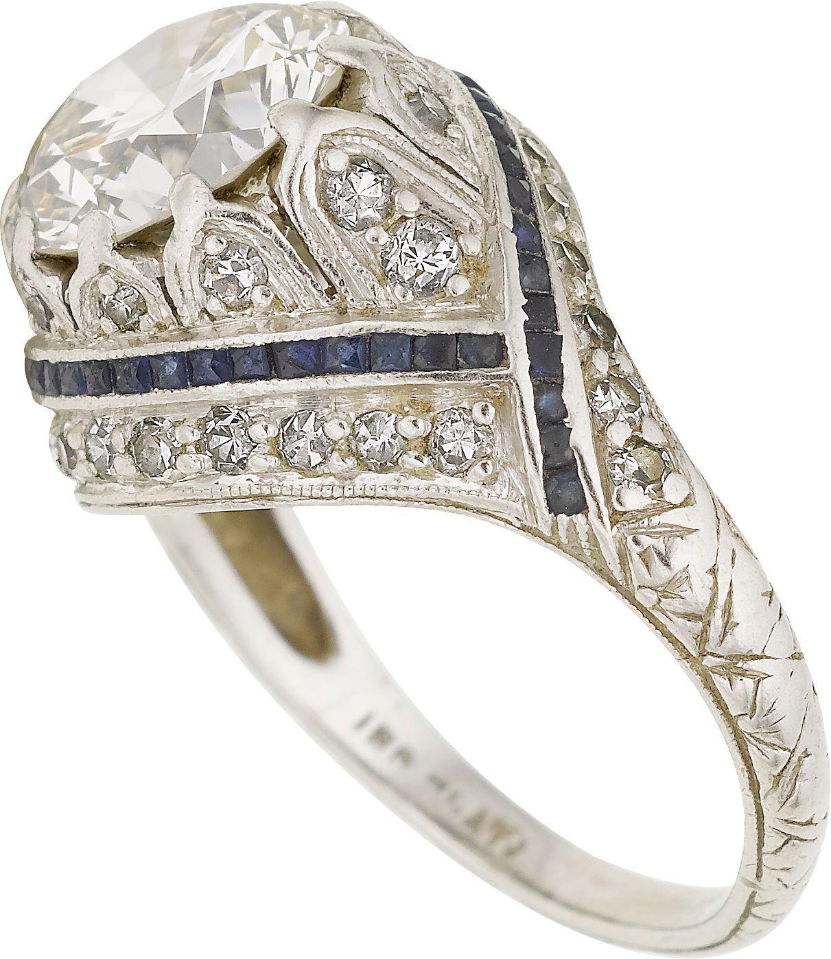 Art Deco Diamond, Sapphire, Platinum Ring. ... Estate JewelryRings | Lot #58150 | Heritage Auctions
